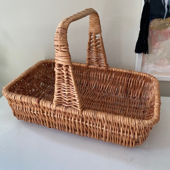 Vintage Wicker / Rattan Woven Basket with Handle